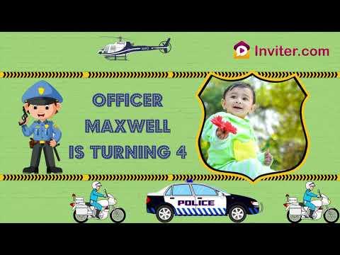 Police Car Themed Birthday Party Invitation- | Kids Birthday Party Invitation | Inviter