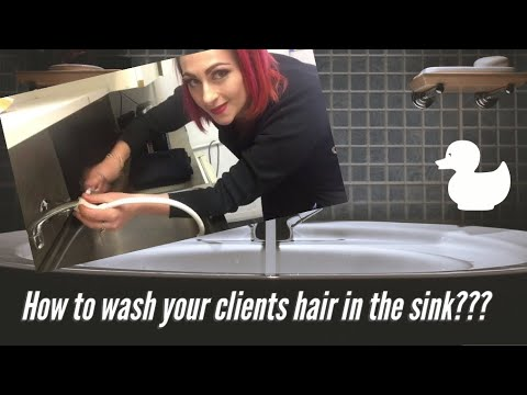 Mobile Hairdressing- Washing A Client In The Sink