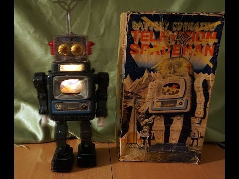 VINTAGE TELEVISION SPACEMAN TIN ROBOT MADE IN JAPAN ALPS
