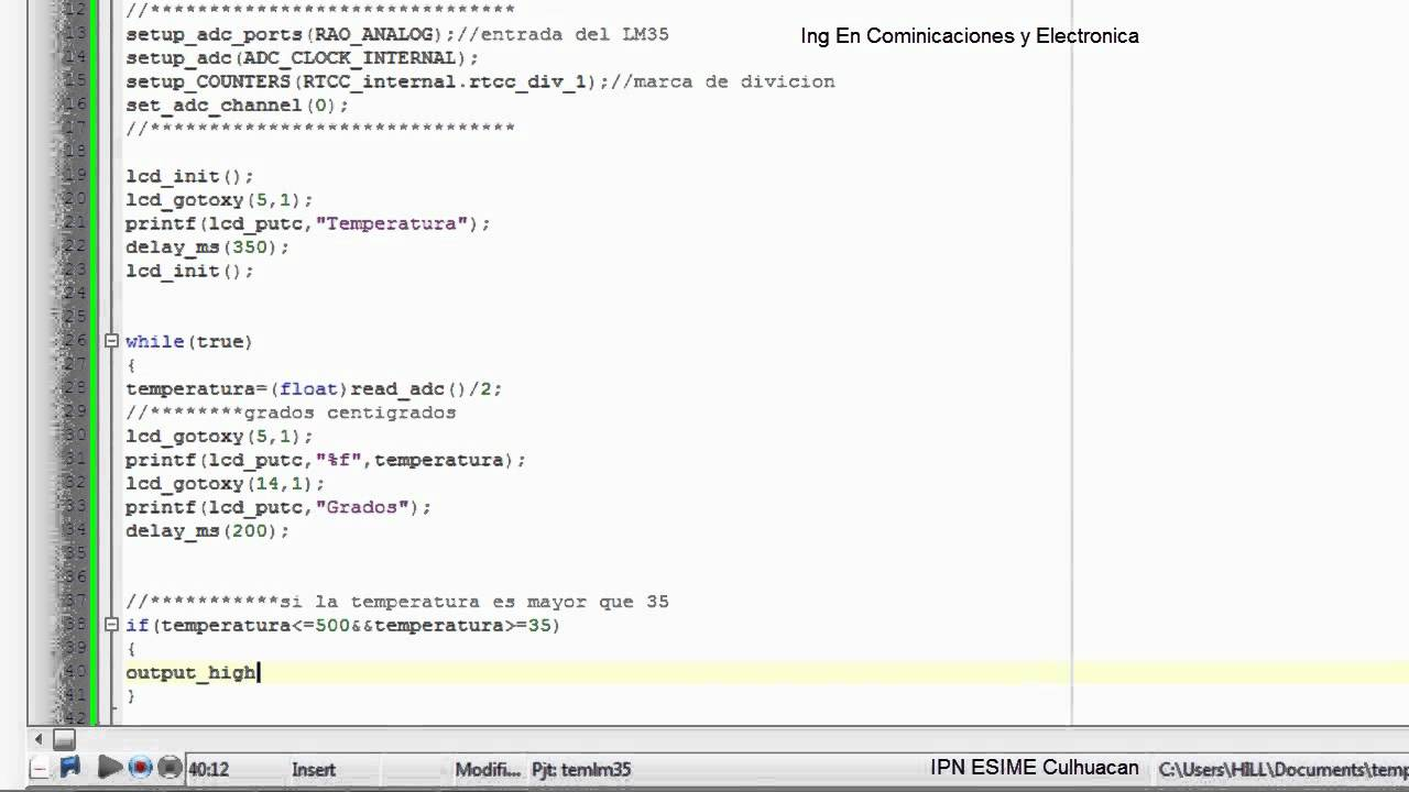 Medidor de temperatura con el lm35 y el pic 16f877 - Medidor de temperatura ...