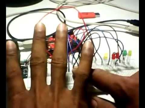 r305 finger print module with ardiuno and blink five led with one hand  finger