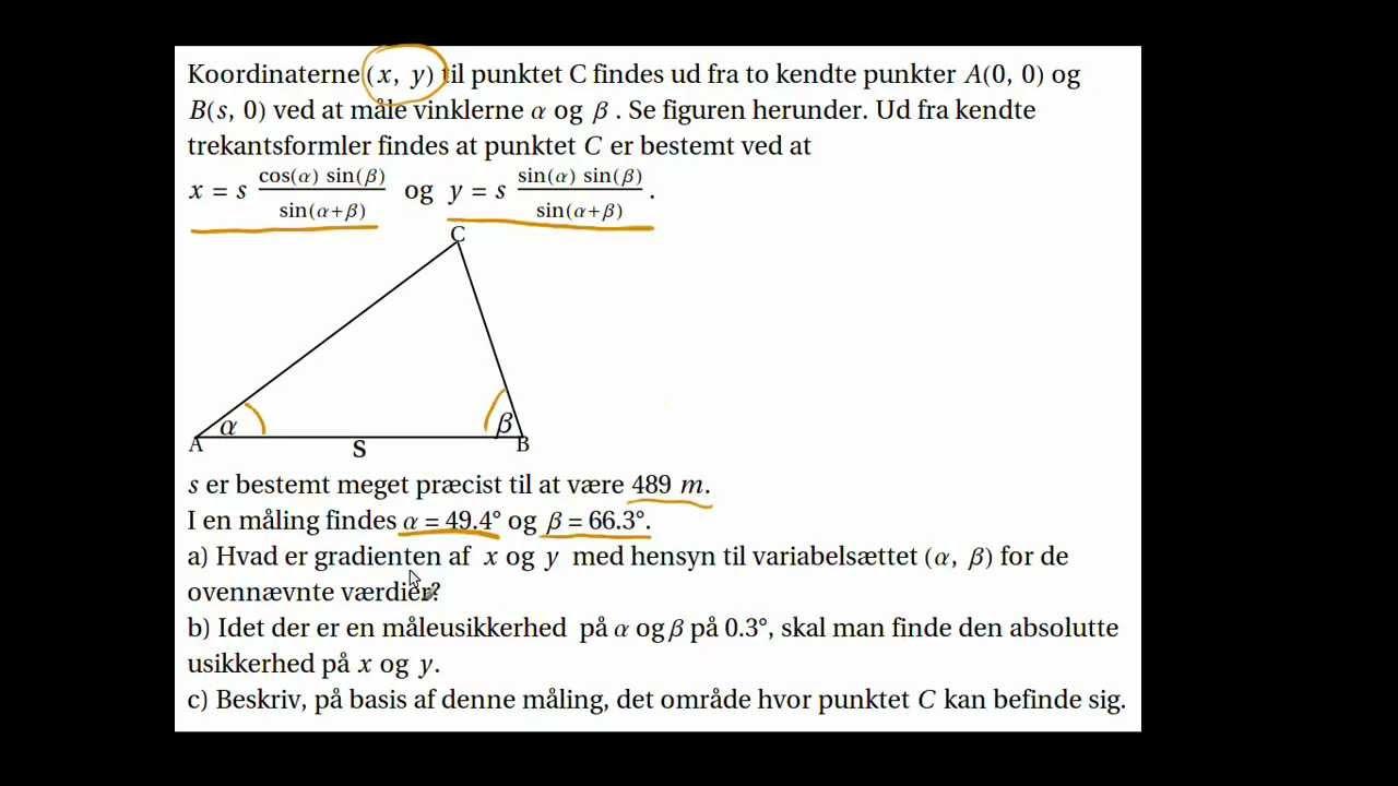 Funktion af flere variable, hvordan håndteres usikkerheder på begge variable? Teoretisk baggrund