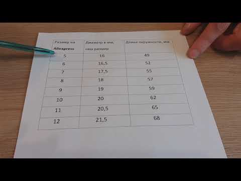 Размер кольца на алиэкспресс, на русском, таблица
