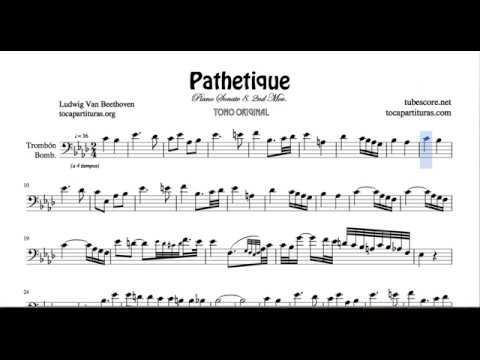 Pathetique Sheet Music for Trombone and Euphonium Sonata 8 2ª Mov Beethoven