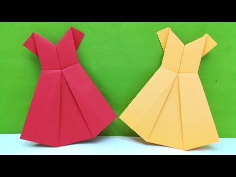 Origami Paper Dress Making Easy Tutorial - Dress - Diy - Craft