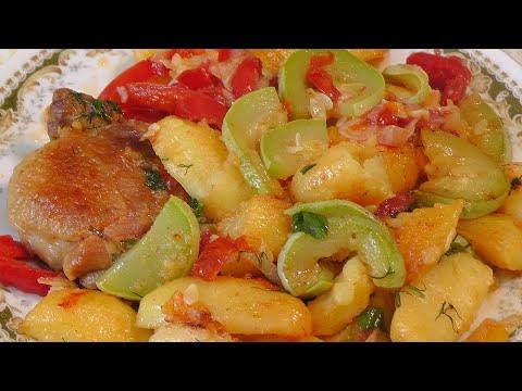 Рагу из кабачков с курицей -Домашняя кухня