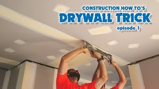 Drywall Construction Workers Trick Finishing Butt Joints