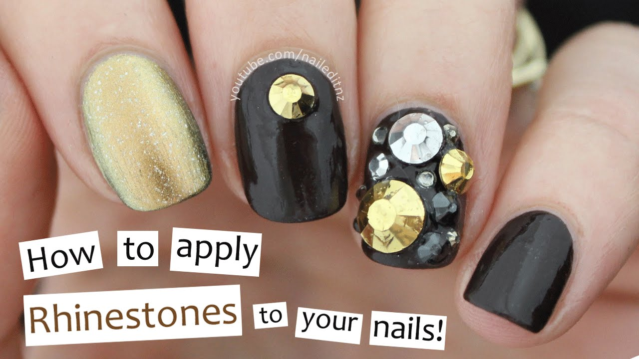 How To Apply Rhinestones To Your Nails Youtube