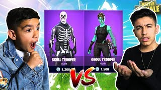Fortnite 1v1 Against 10 Year Old Little Brother For *RARE* Skull Trooper Skin!