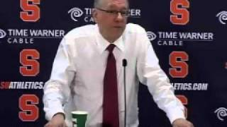 SU Coach Jim Boeheim gets fired up over his treatment by the press