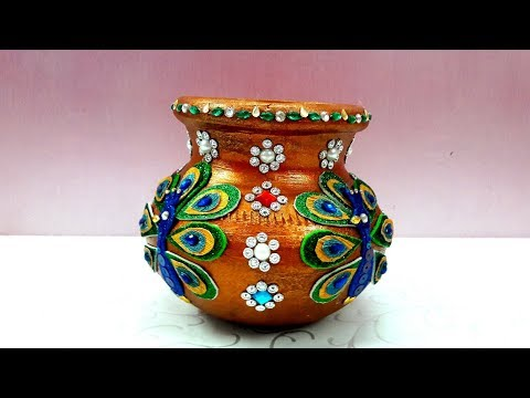 kalash decoration/Matki decoration for Janmastami/ pot decoration for navratri/ school competition