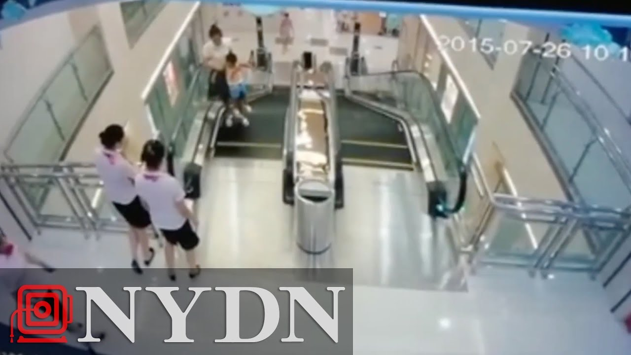 How To Catch Falling Son >> Mom In China Saves Child Before Falling Through Escalator