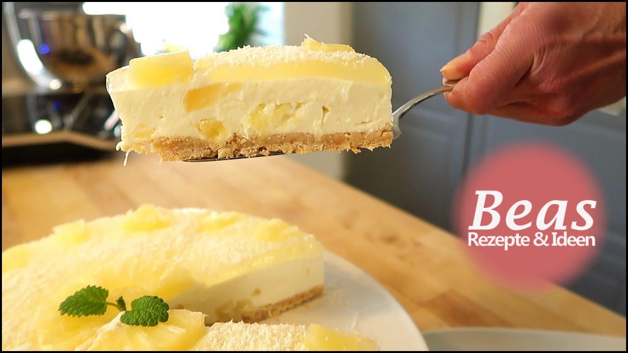 No Bake Ananas Kokos Kase Kuchen Rezept Torte Ohne Backen