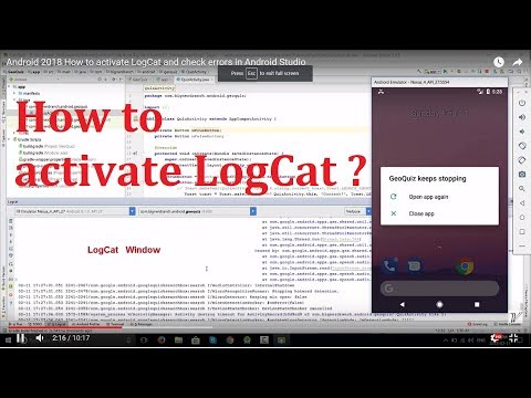Android basic: How to activate LogCat in Android Studio 3 1