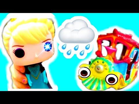 Саша и кукла Эльза гуляют после дождя и катаються на паровозике!