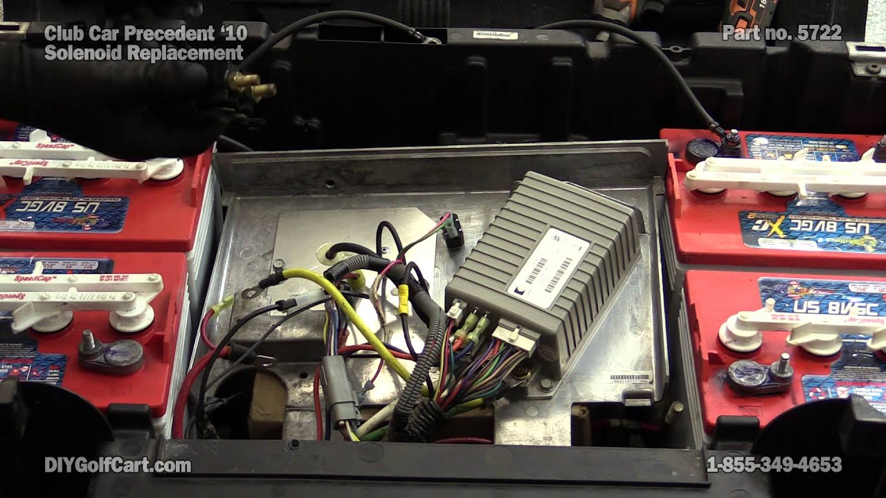 club car precedent 48 volt solenoid how to replace on golf cart rh youtube com Club Car Battery Wiring Diagram 2000 Club Car Golf Cart Electric Wiring