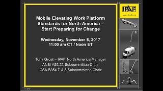 IPAF North America Webinar: Mobile Elevating Work Platform Standards for North America