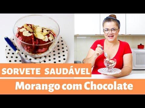 Sorvete Saudável - Morango com Chocolate