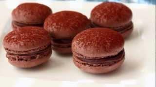 Dark Chocolate Macarons - French Macaron Recipe - Meringue Cookies