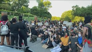 Protestors block road to Georgia governor's mansion