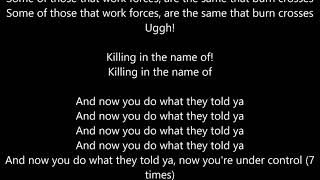 Rage Against The Machine - Killing In The Name - Lyrics Scrolling