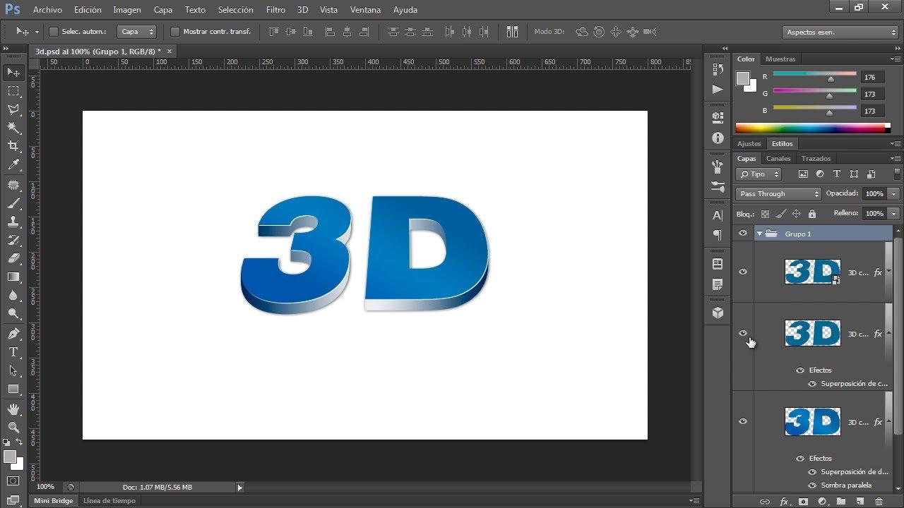 Efecto de texto 3d sin usar herramientas 3d con photoshop for Programa para crear habitaciones 3d