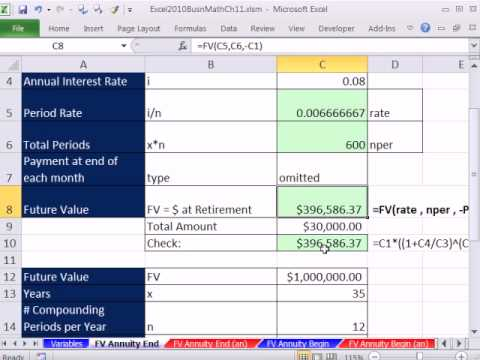 Excel 2010 Business Math 84: Annuities: FV, PV and PMT  for End & Begin (9 Examples)
