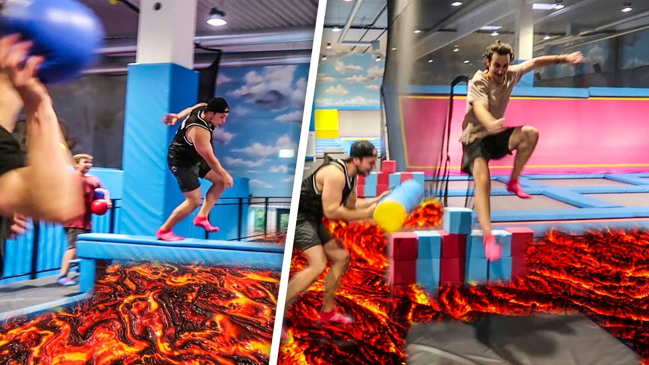 Boden ist lava trampolin parcours challenge youtube for Boden ist lava