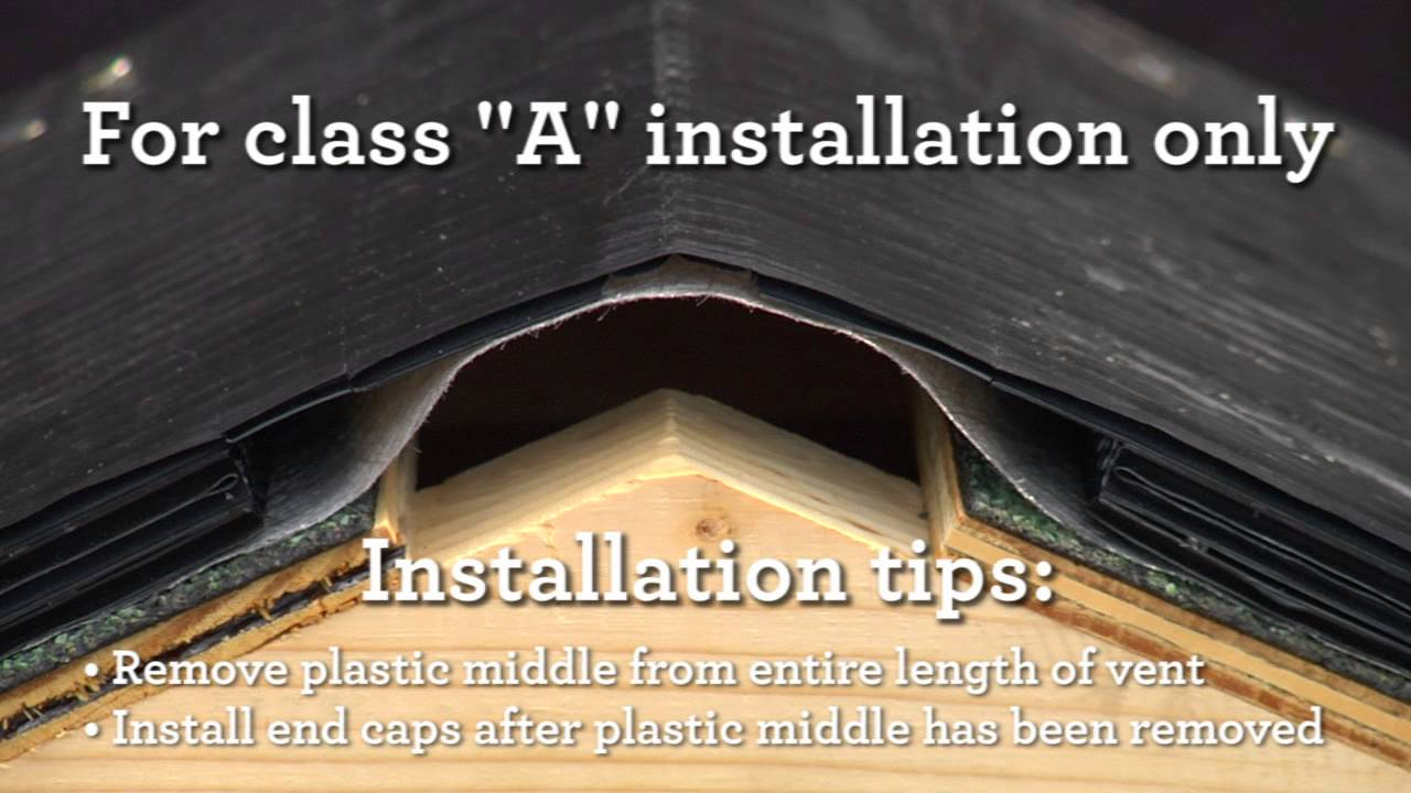 "class ""a"" ridge vent installation 