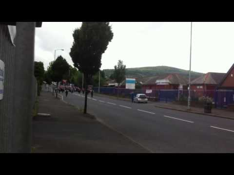 12th of July parade past Mountainview and Ardoyne shops