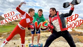 Red Power Ranger VS The Red Hood Hoverboard Challenge
