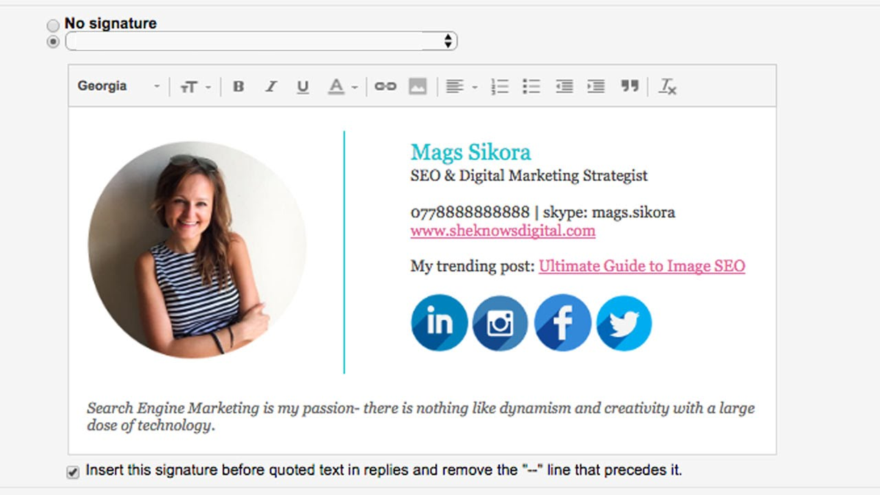 How To Create A Gmail Signature With Images Social Icons Logo Tutorial