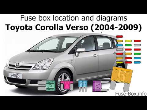 fuse box location and diagrams: toyota corolla verso (2004-2009) - youtube