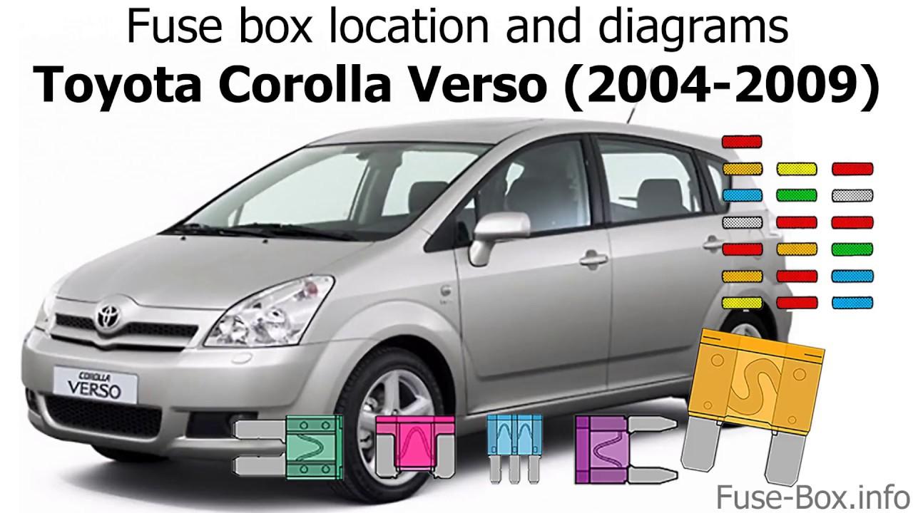 Fuse box location and diagrams: Toyota Corolla Verso (2004