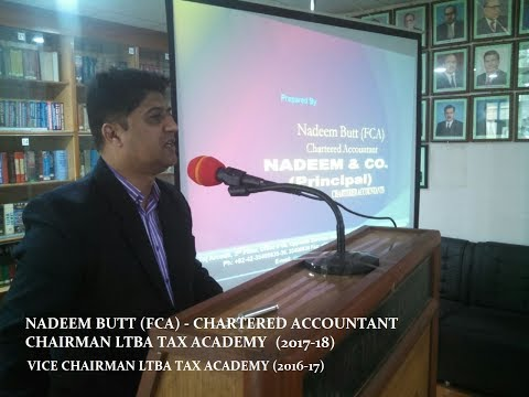 "LECTURE BY NADEEM BUTT FCA AT LTBA ON ""INCOME FROM BUSINESS"""