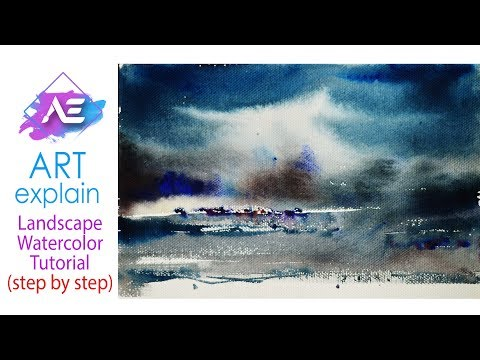 Rain Watercolor Painting Landscape Tutorial | How to paint a watercolor landscape | Art Explain