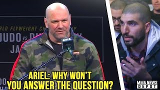Download Video Dana White refuses to answer Ariel's question; Cejudo brings out snake during face off; TJ on Max MP3 3GP MP4