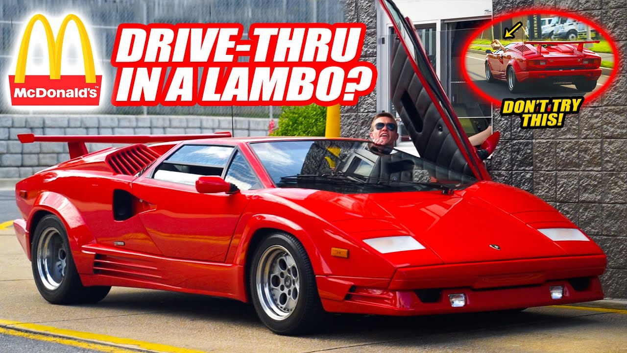 TAKING A LAMBORGHINI COUNTACH TO THE MCDONALD'S DRIVE-THRU! What Could Possibly Go Wrong?