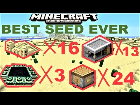 MCPE 1.0.4 - 24 VILLAGES, 3 STRONGHOLDS, 16 TEMPLES in 1 SEED | MINECRAFT PE BEST SEED