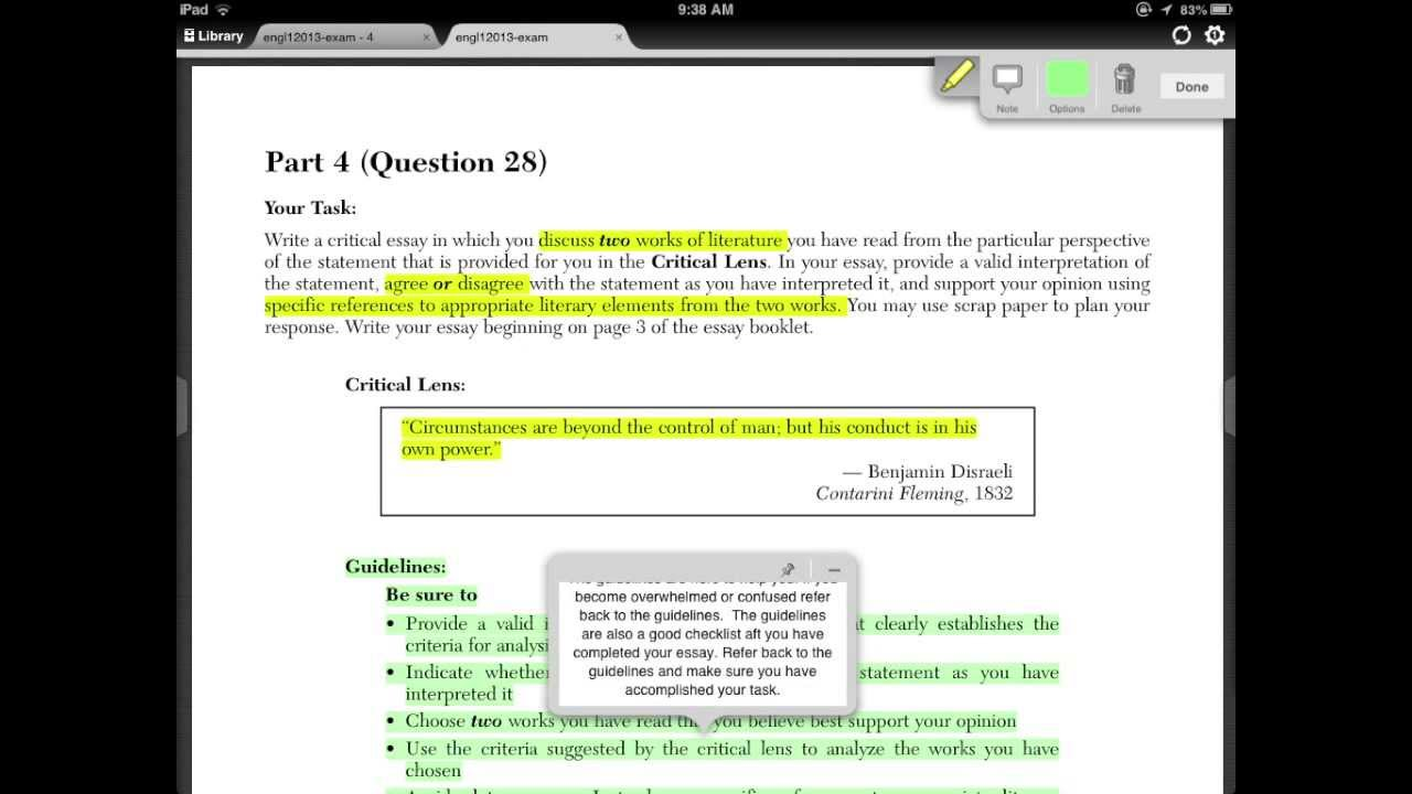 nys english regents question the critical lens question