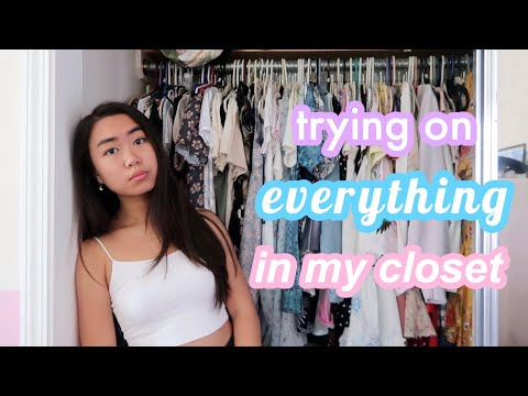 trying on EVERYTHING in my closet (declutter) *this was rough*