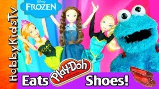 Cookie Monster EATS Princess PLAY-DOH Shoes! Anna, Elsa, Disney, Barbie, Dorothy Ruby HobbyKidsTV