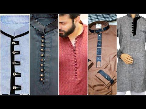 Casual Men's clothing |Stylish Designer's Button Patti Designs For Men's Kurta /Kameez Shalwar Suits