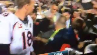 PEYTON MANNING KISSES PAPA JOHN AFTER SUPER BOWL 50 WIN