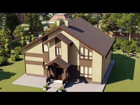 Проект мансардного дома из кирпича с балконом и террасой