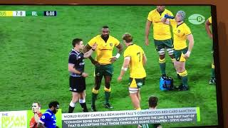 Robust discussion about yellow & red cards in rugby