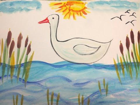 видео: Как нарисовать гуся.