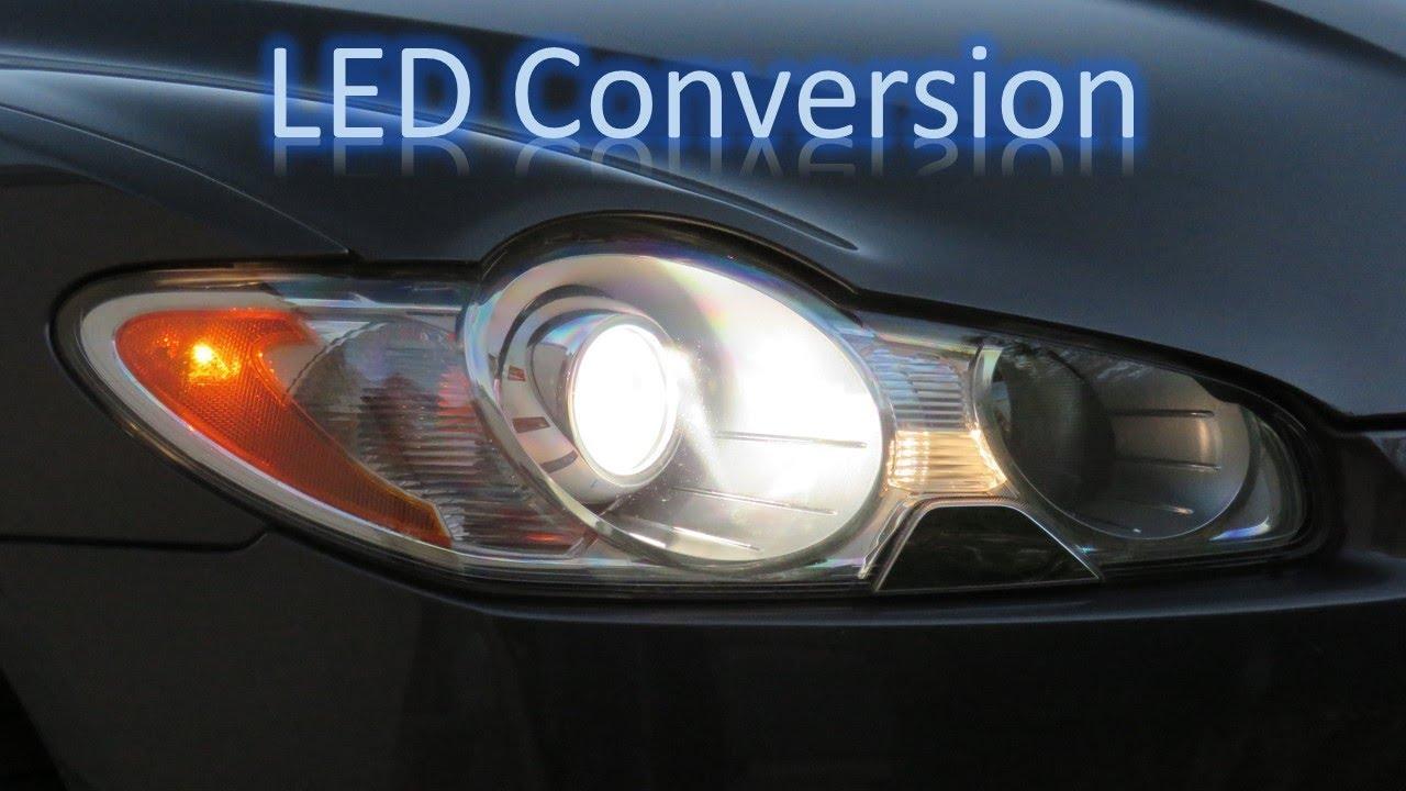 Jaguar XF LED headlight conversion