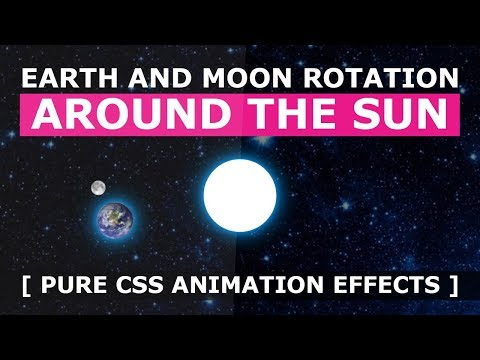 Earth And Moon Rotation Around The Sun - Pure CSS Animation Effects - Tutorial