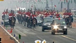 68th Republic Day: President Pranab Mukherjee arrives at Rajpath